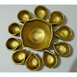 Golden Diyas for home decor and for gift set of 13 (12 medium and 1 large fore mukhi Diya)