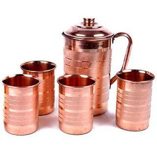 Clickmart Pure Copper Jug and 4 Glass Set for Ayurvedic Health Benefits