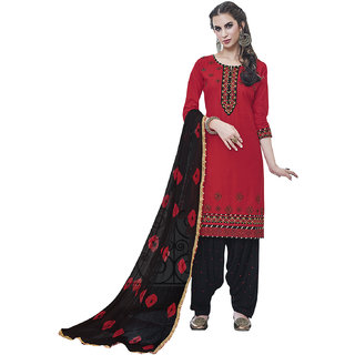 Kvsfab Women'S Red Embroidered Cotton Salwar Suit Material (Unstitched)