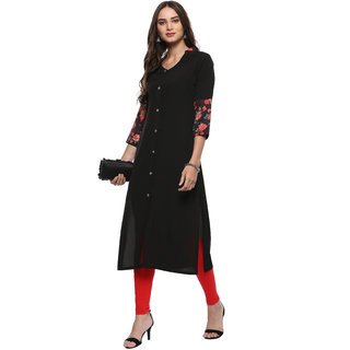 Janasya Women's Black Embellished Crepe Straight Kurti