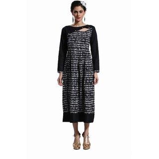 Janasya Women's Black Embellished Cotton A-Line Kurti