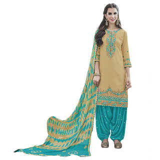 Kvsfab Women'S Blue Embroidered Cotton Salwar Suit Material (Unstitched)