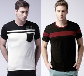 Stylogue Men's Cotton Round Neck T-Shirt (White-Black, Black-Maroon) Pack Of 2