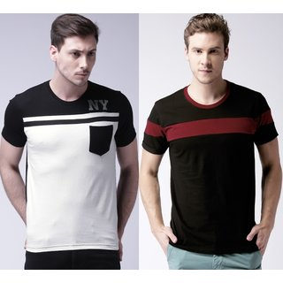 Stylogue Multicolor Plain Cotton Blend Round Neck T-shirt For Men
