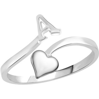 Vidhi Jewels Rhodium Plated Alphabet Initial A with Heart Alloy  Brass Finger Ring for Women and Girls VFR495R
