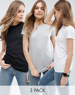 Melcom Black Grey & White Cotton Round Neck Tshirt (Pack of 3)