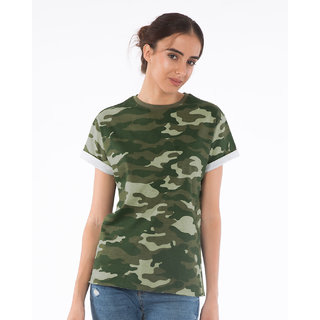 Buy Camouflage Army Print t shirt for Women Online   ₹350 from ... c775389e6ac