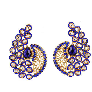 Kundan and Blue Austrian Stone Ear Cuff Earrings Gold Plated by JewelMaze -13037102