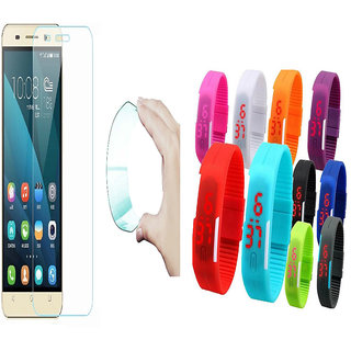 Gionee P5 Mini 03mm Curved Edge HD Flexible Tempered Glass with Waterproof LED Watch