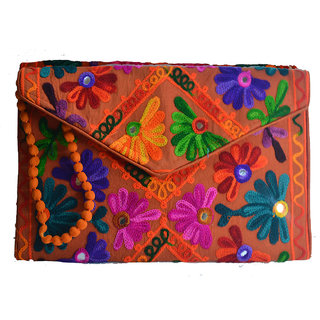Sasha's Studio Exclusive Kutchi Embroidery Fabric Designer Purse Big Green with Sling Orange