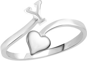 Vidhi Jewels Rhodium Plated Alphabet Initial Y with Heart Alloy  Brass Finger Ring for Women and Girls VFR519R