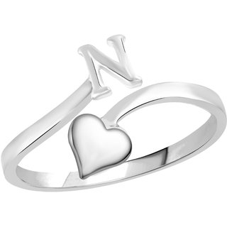 Vidhi Jewels Rhodium Plated Alphabet Initial N with Heart Alloy  Brass Finger Ring for Women and Girls VFR508R