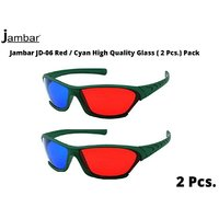 Jambar JD-06 Red  Anaglyph 3D Plastic Frame Glasses (2 Pcs.Pack)