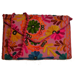 Sasha's Studio Exclusive Kutchi Embroidery Fabric Designer Purse Big Green with Sling Pink