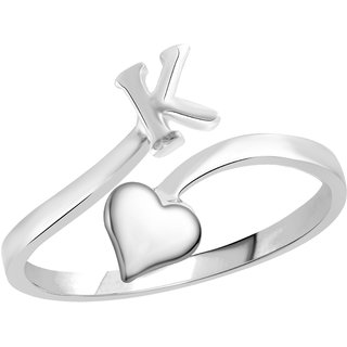 Vidhi Jewels Rhodium Plated Alphabet Initial K with Heart Alloy  Brass Finger Ring for Women and Girls VFR505R