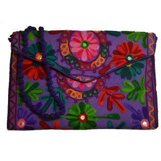 Sasha's Studio Exclusive Kutchi Embroidery Fabric Designer Purse Big Green with Sling Purple