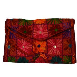 Sasha's Studio Exclusive Kutchi Embroidery Fabric Designer Purse Big Green with Sling Red
