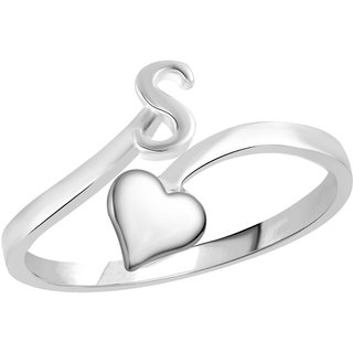 Vidhi Jewels Rhodium Plated Alphabet Initial S with Heart Alloy  Brass Finger Ring for Women and Girls VFR513R