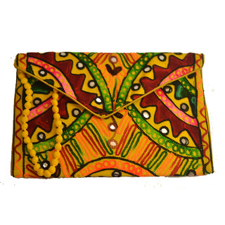 Sasha's Studio Exclusive Kutchi Embroidery Fabric Designer Purse Big Green with Sling Red