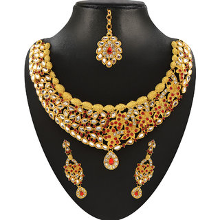 JewelMaze Kundan And Red Austrian Stone Gold Plated Necklace Set With Maang Tikka -2200805