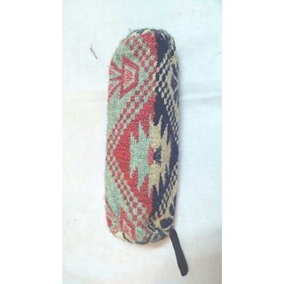 Recycled handloom single zip pouch