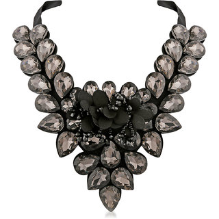 JewelMaze Grey Crystal Stone Black Ribbon Necklace-1111224E