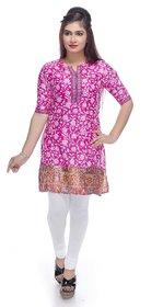 Navrachna pink poly silk printed kurti with flower print