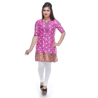 Navrachna pink poly silk printed kurti with flower print