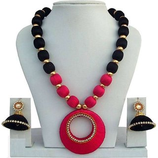Silk Thread Necklace and Earings Set