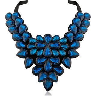 JewelMaze Blue Crystal Stone Black Ribbon Necklace-1111225B