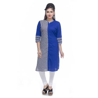 Navrachna blue cotton kurti with half printed panel