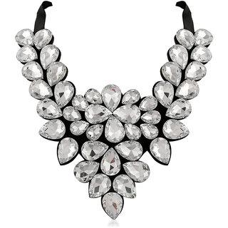 JewelMaze White Crystal Stone Black Ribbon Necklace-1111225C