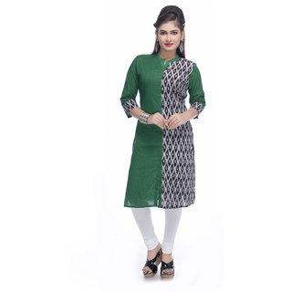 Navrachna green cotton kurti with half printed panel