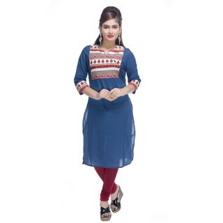Navrachna blue cotton kurti with printed yoke