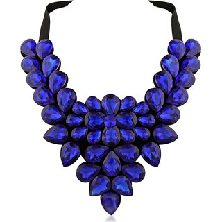 JewelMaze Blue Crystal Stone Black Ribbon Necklace-1111225F