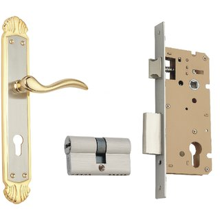 cc0886e434c Buy Spider Solid Brass Mortice Cylindrical Lock Set With Silver Gold Finish  (Length 12 Inch) (B43Jg +Wclcs) (Royal Mortice L Online - Get 10% Off