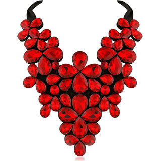 JewelMaze Red Crystal Stone Black Ribbon Necklace-1111226B