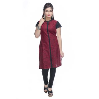 Navrachna red doodle printed kurti in pure cotton