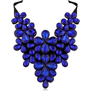 JewelMaze Blue Crystal Stone Black Ribbon Necklace -1111226C
