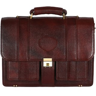C Comfort 17 Liters Leather Brown 15 Laptop Briefcase EL529BR