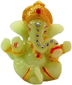 Kesar Zems Hindu God Religious Idol Radium Mukut Ganesh Temple Showpiece for Car Dashboard