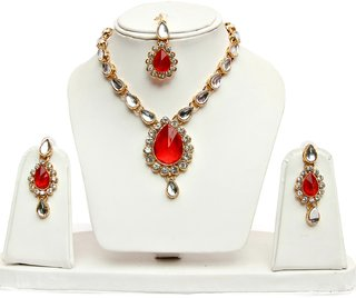 STAR Jewellery 1-Line Red Colour Kundan Set