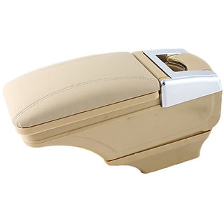 Beige Fancy Armrest with chrome design - Compatible with all kind of cars