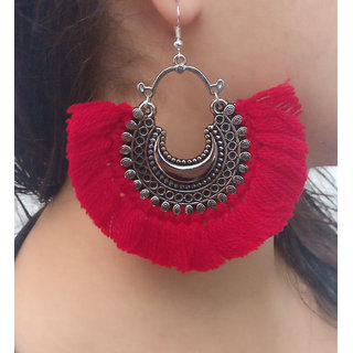 Verceys Silver Oxidized Red Thread Afghani Beautiful Jhumki Earring Drop Earrings For S And Women