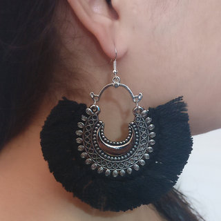 Verceys Silver Oxidized Black Thread Afghani Beautiful Jhumki Earring Drop Earrings For Girls And Women