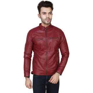 Amasree Maroon Pu Leather Plain  Biker Full sleeve Casual Jacket For Boys  Men