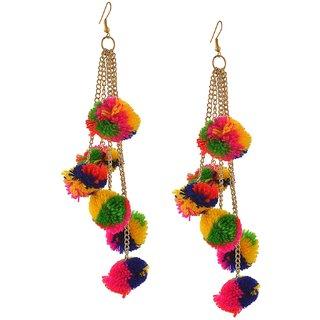 Verceys MultiColor Fashion Hook Dangle Tassel Long Funky Earrings with Pompoms for Girls And Women