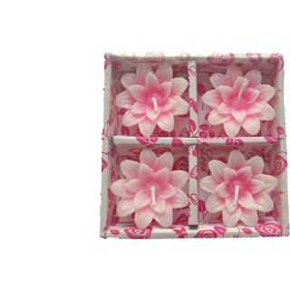 White  Dazzling Pink Floral Design Candles- Pack of 4