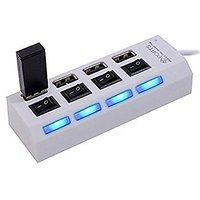 4 Port Usb Hub With Individual Switch (White And Black)