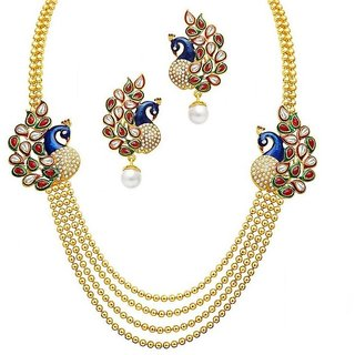 MFJ FASHION JEWELLERY Alloy Gold Plated Wedding Necklace Set For Women